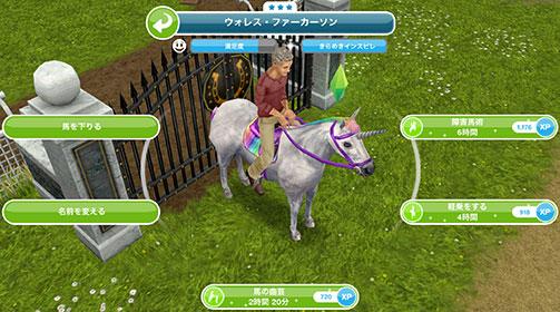 趣味「馬の曲芸」「軽乗」「障害馬術」アクション 1種ずつ(The Sims フリープレイ )