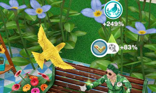 趣味「鳥のエサやり」で、趣味スキル%と古代の女神ボーナス%を獲得するシニアシム(The Sims フリープレイ )