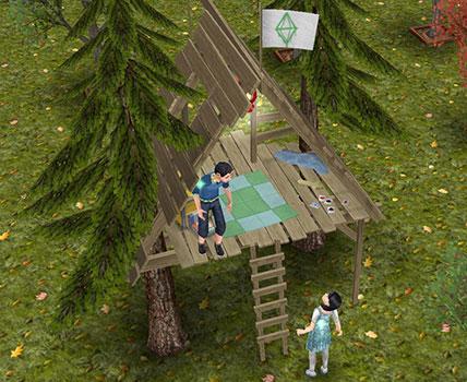 「子供用ツリーハウス」に集合する小学生シムたち(The Sims フリープレイ)