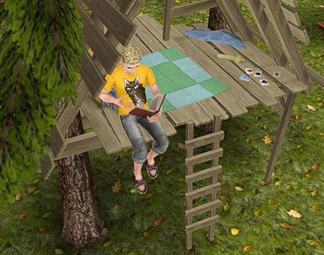 「子供用ツリーハウス」で読書する大人シム(The Sims フリープレイ)