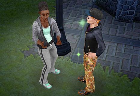 「童心に返るキッズパーティー」クエストキャラ、クリスタルと話すシム(The Sims フリープレイ)