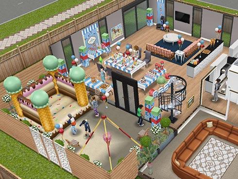 ディラン君のバースデーパーティー会場(The Sims フリープレイ)