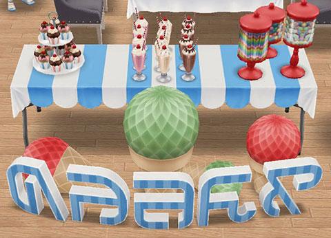ビビッド色のパーティーワード、パーティーカップケーキ、パーティーミルクセーキ、赤いキャンディー容器、青いバースデーテーブル(The Sims フリープレイ)