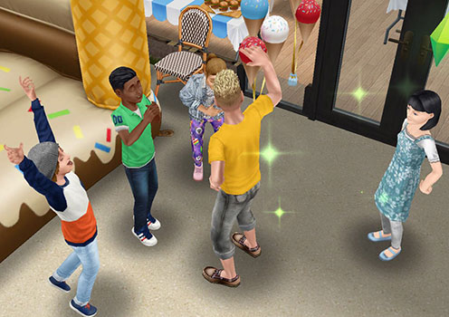 バースデーボーイ・ディラン君とその友達に挨拶する大人シム(The Sims フリープレイ)
