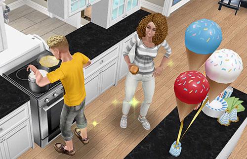 パーティーフードを調理するシムと、それを狙う、つまみ食い大好きシム(The Sims フリープレイ)