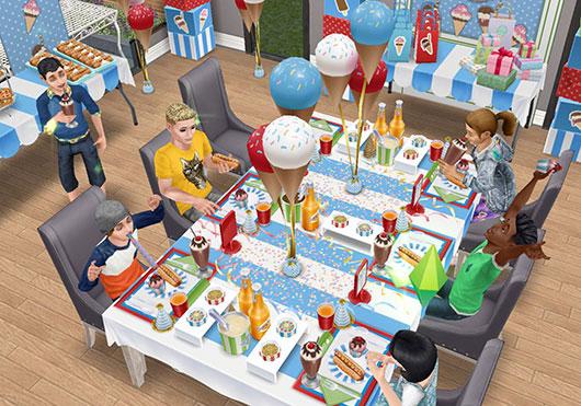 パーティーテーブルで賑やかに食事するシムたち(The Sims フリープレイ)