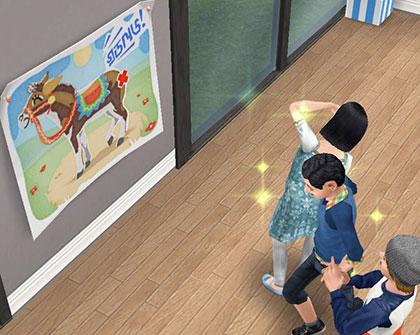 「ロバのしっぽ留め」ゲームを楽しむ小学生シムたち(The Sims フリープレイ)
