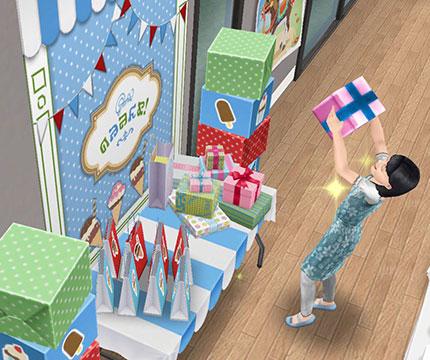 プレゼントを開けて喜ぶ小学生シム(The Sims フリープレイ)