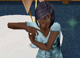 脇に手を当てておどけるシム(The Sims フリープレイ)