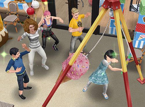 「アイスクリームピニャータ」で遊ぶシムたち(The Sims フリープレイ)