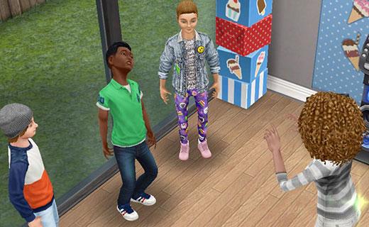 泣き出したディラン君をなだめる大人シム(The Sims フリープレイ)