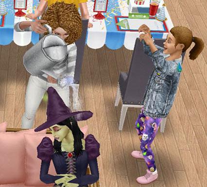 ぐっすり眠る魔女バーバラ・ヤーガにジョウロで水をかける大人シムと、それを見てはしゃぐ小学生シム(The Sims フリープレイ)