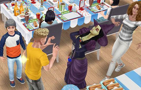 すっかりご立腹の魔女バーバラ・ヤーガをなだめるシム(The Sims フリープレイ)