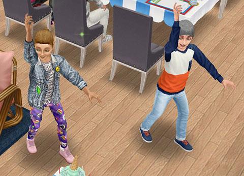 バースデーソングのカラオケに合わせて踊る、ディラン君の友達(The Sims フリープレイ)