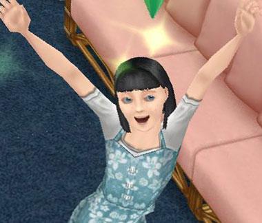 バースデーソングのカラオケに合わせて踊る小学生シム(The Sims フリープレイ)