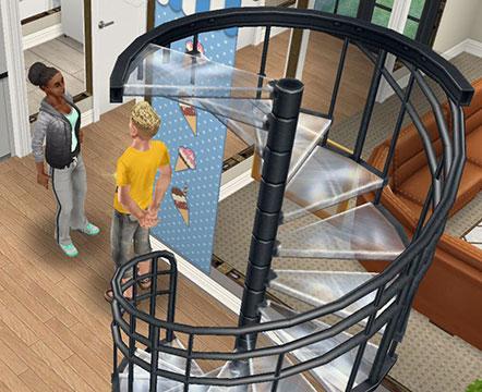 コルクステップの横で、クリスタルにお別れの挨拶をするシム(The Sims フリープレイ)