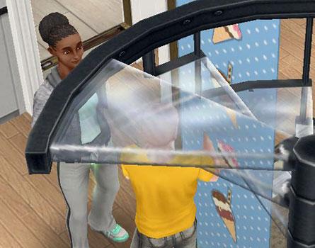 らせん階段「コルクステップ」のガラス板から透けて見える、シムのハゲ頭(The Sims フリープレイ)