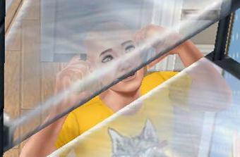 ハゲ頭を見透かされ、慌てるシム(The Sims フリープレイ)
