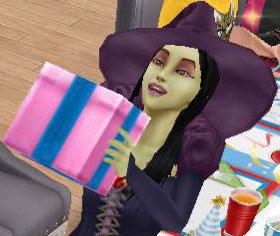 プレゼントを抱えて喜ぶ魔女バーバラ・ヤーガ(The Sims フリープレイ)