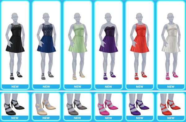 「ロマンチックイブニングウェア」大人の女性シム用ドレスアイテム(The Sims フリープレイ)