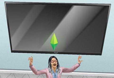シネマトロンの大きさと輝きに興奮するシム(The Sims フリープレイ)