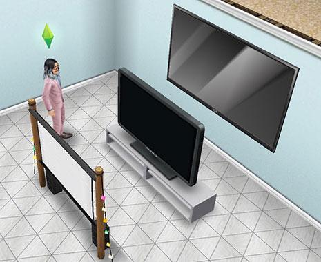 シネマトロン、やりすぎテレビ、アウトドアシネマを見比べるシム(The Sims フリープレイ)