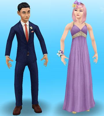 正装にドレスアップしたティーンシムたち(The Sims フリープレイ)