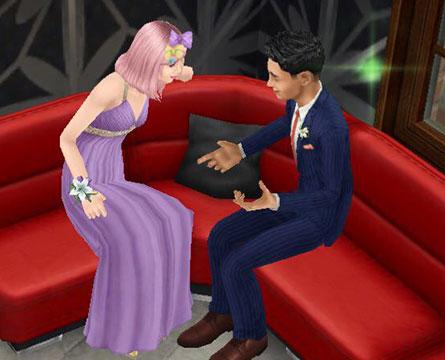 レストランの「赤いLソファ」でおしゃべりするティーンシムたち(The Sims フリープレイ)