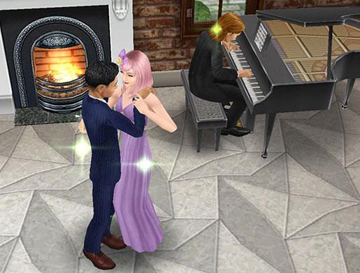 レストランで、ピアノに合わせ、ロマンチックに寄り添い踊るティーンシムたち(The Sims フリープレイ)
