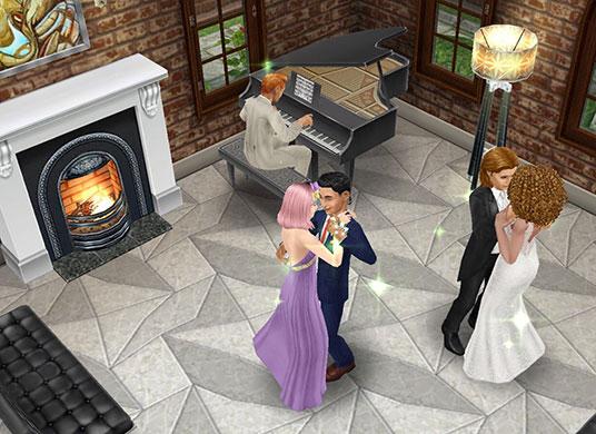 レストランで、ピアノに合わせて寄り添い踊る、シムたちのダンスパーティー(The Sims フリープレイ)