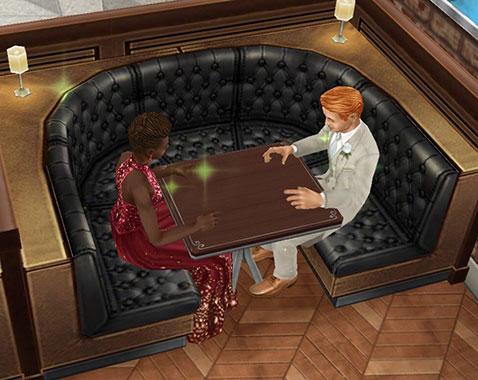 レストランでロマンチックな食事を待つカップル(The Sims フリープレイ)