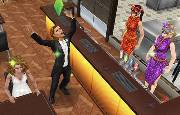 レストランで、にこにこするだけのツインテール双子接客スタッフの前で騒ぐ男性シム(The Sims フリープレイ)