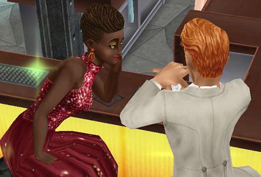 レストランのバーで楽しく話す男女シム(The Sims フリープレイ)