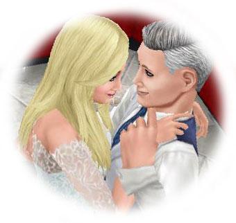 寄り添い見つめ合うメロメロ男女シム(The Sims フリープレイ)