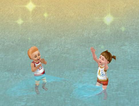 プライベートアイランドで水かけあっこして遊ぶ幼児シムたち(The Sims フリープレイ)
