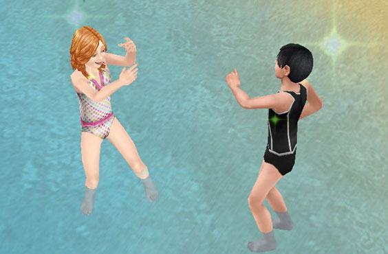 プライベートアイランドで水かけあっこして遊ぶ小学生シムたち(The Sims フリープレイ)