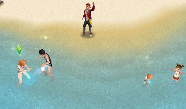 プライベートアイランドで水かけあっこして遊ぶ子どもたちに声をかける新聞配達の少年(The Sims フリープレイ)