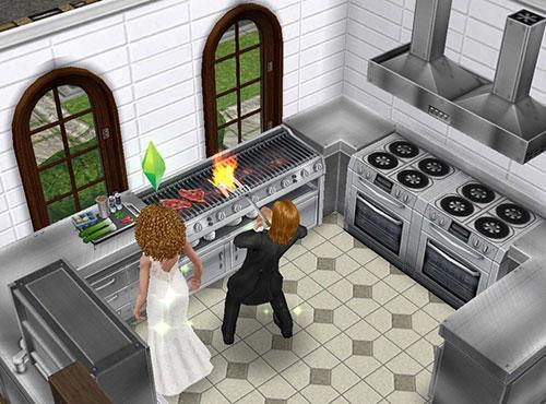 レストランの厨房で料理する男女シム(The Sims フリープレイ)