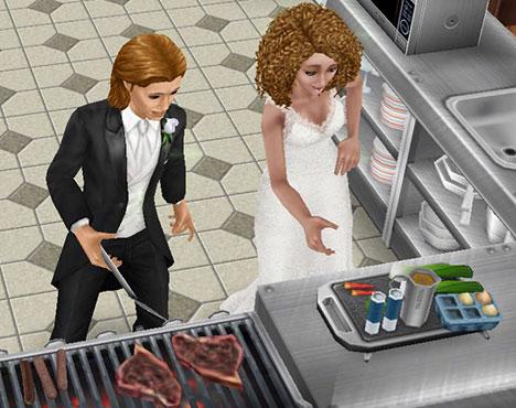 レストランの厨房で、肉を焼く男性シムと、調味料を取ろうとする女性シム(The Sims フリープレイ)