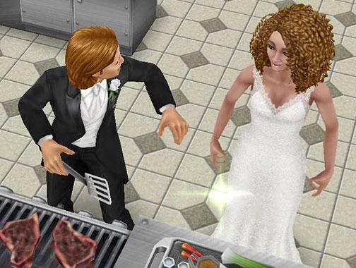レストランの厨房で、照れながら向き合う男女シム(The Sims フリープレイ)