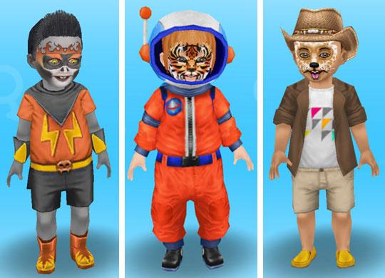 メイクして、ゾンビヒーロー、タイガー星人、わんわんカウボーイに仮装した幼児シムたち(The Sims フリープレイ)