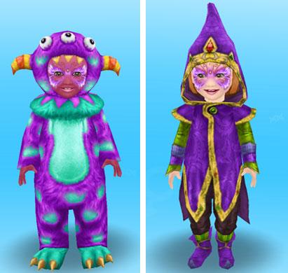 メイクやボディーペイントをして、魔女やモンスターに仮装した幼児シムたち(The Sims フリープレイ)