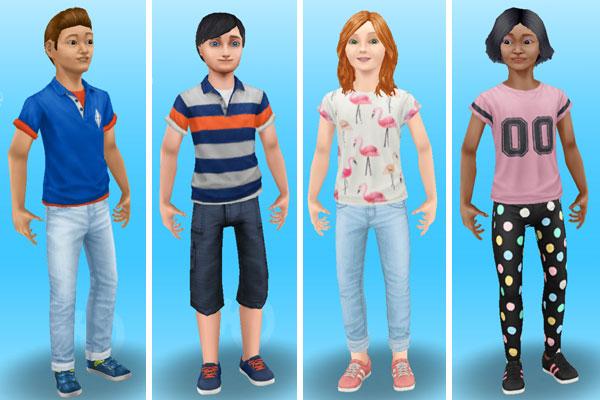 小学生用スペシャルボックスでゲットした新ファッションに着替えた小学生シムたち(The Sims フリープレイ)