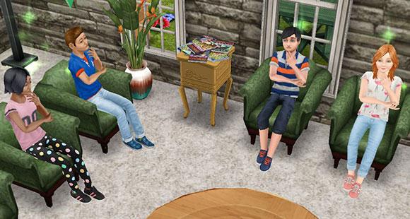 自宅でうずうずする小学生シムたち(The Sims フリープレイ)