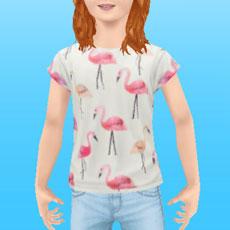 ファッションアイテム「小学生カジュアル フラミンゴ」を着た女の子シム(The Sims フリープレイ)