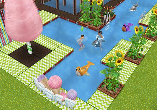 キッズのお泊まり会ハウス プールとプールサイド(The Sims フリープレイ)