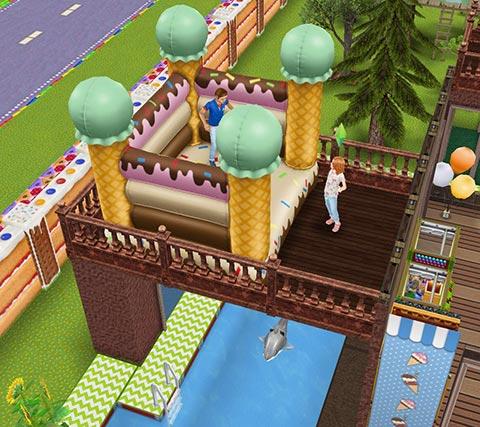 キッズのお泊まり会ハウス 2階バルコニーにあるアイスクリームバウンシーキャッスル(The Sims フリープレイ)