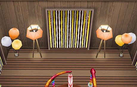 キッズのお泊まり会ハウス 2階 パーティーリボンのドア(The Sims フリープレイ)