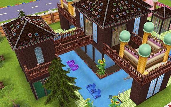 キッズのお泊まり会ハウス プール中央の小城から階段小屋への橋(The Sims フリープレイ)
