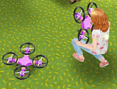 ドローンを抱える小学生シム(The Sims フリープレイ)